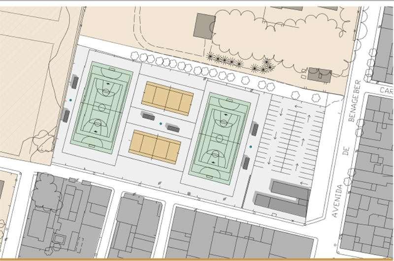 Planos del espacio polideportivo proyectado en el antiguo campo de fútbol. EPDA.