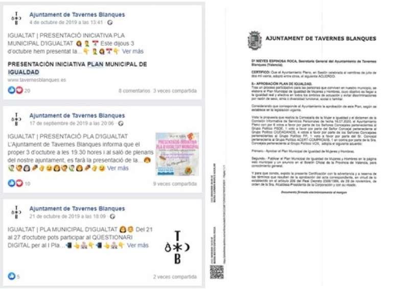 Capturas del anuncio del plan de igualdad en redes sociales