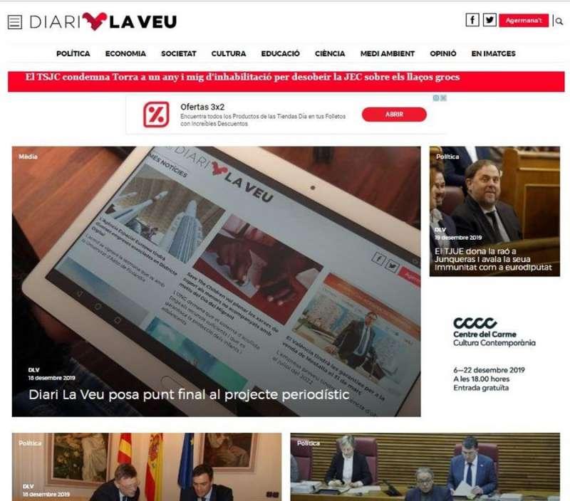 Imagen del diari La Veu, que cerrará el próximo 31 de diciembre.