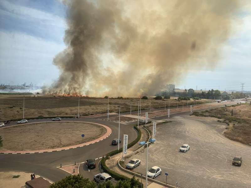 El incendio a las 15.03 horas. P. V.