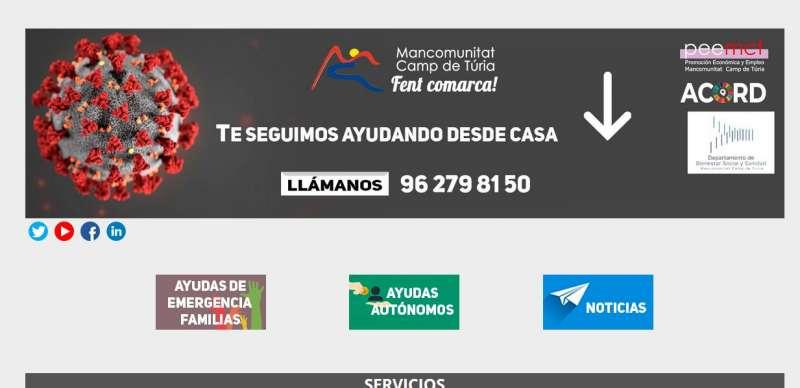 Página web de la Mancomunitat Camp de Túria. / EPDA