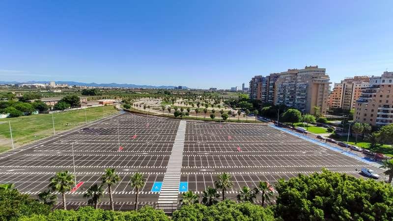 Vista aérea del aparcamiento gratuito. EPDA