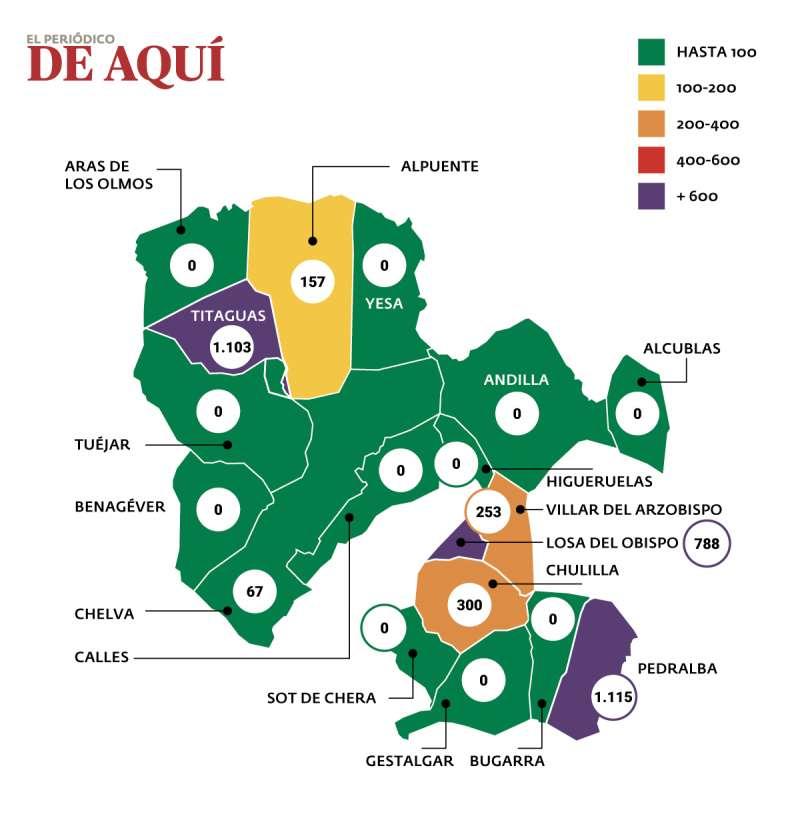 Mapa de la incidencia del coronavirus en La Serranía. / EPDA