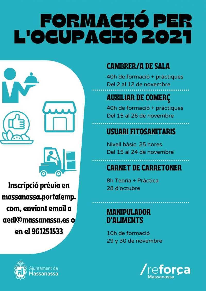 Cartel de la formación para la ocupación en Massanassa.