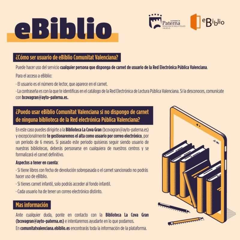 Cartel informativo sobre el servicio de la eBiblio de Paterna. / EPDA
