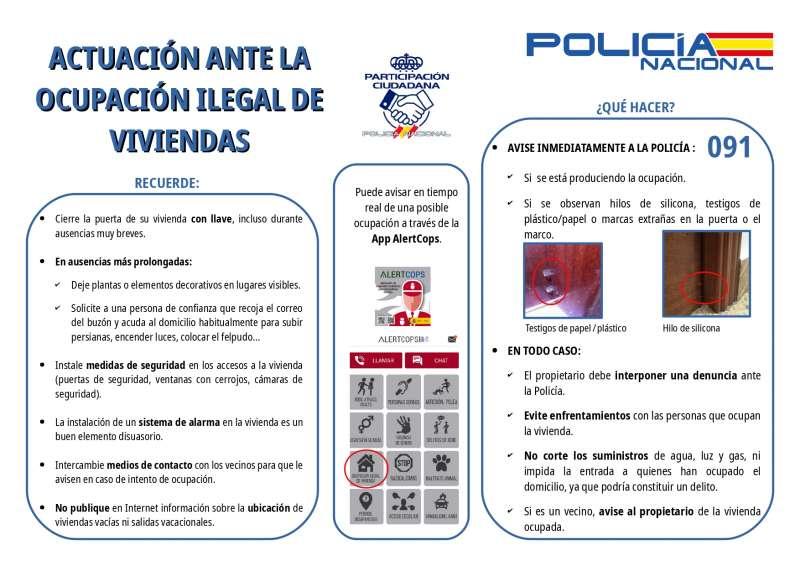 Guía de la Policía Nacional sobre como actuar ante una ocupación