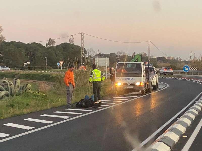 Imagen del motorista herido en el accidente. EPDA