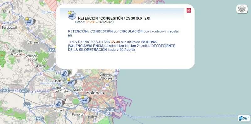 Situación del tráfico en la V-30 a la altura de Paterna. DGT