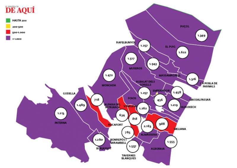 Mapa con los datos publicados el 2 de febrero correspondientes a la información recabada el 31 de enero. Fuente: Conselleria de Sanidad