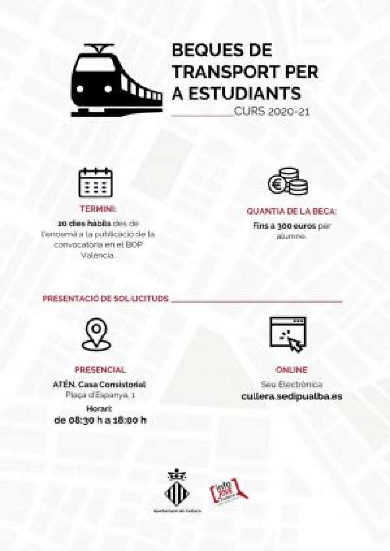Cartell beques de transport per a estudiants de Cullera./EPDA