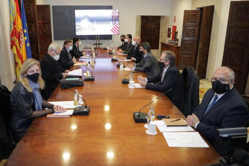 Amparo Marco en la reunión celebrada en el Palau de la Generalitat