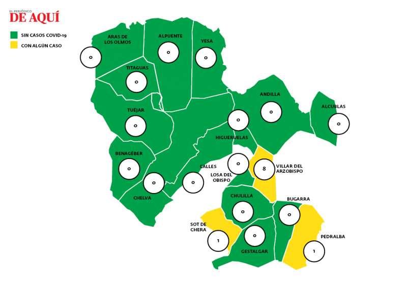 Mapa de incidencia en La Serranía. EPDA.