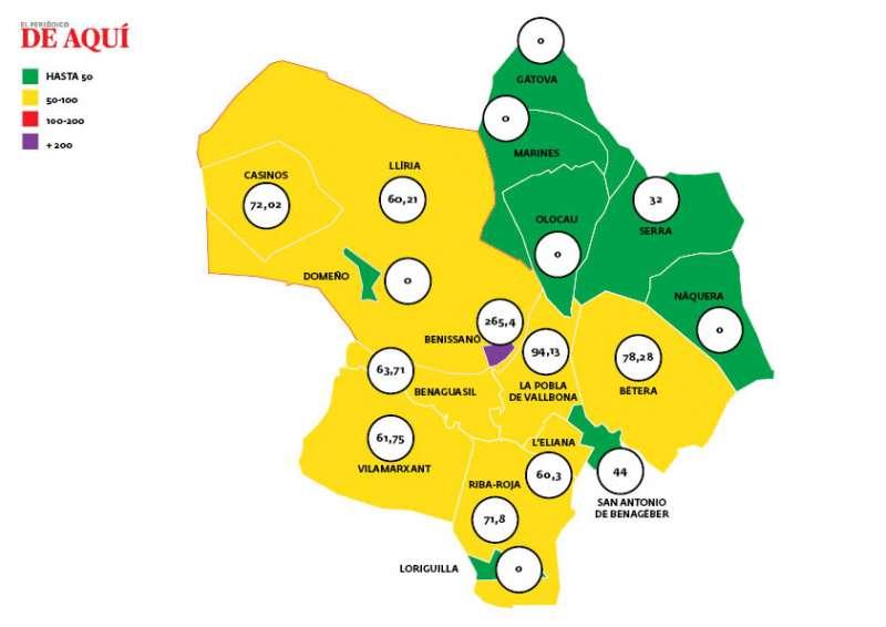 Mapa de la incidencia media acumulada del coronavirus por municipios a fecha de 28 de febrero. / EPDA