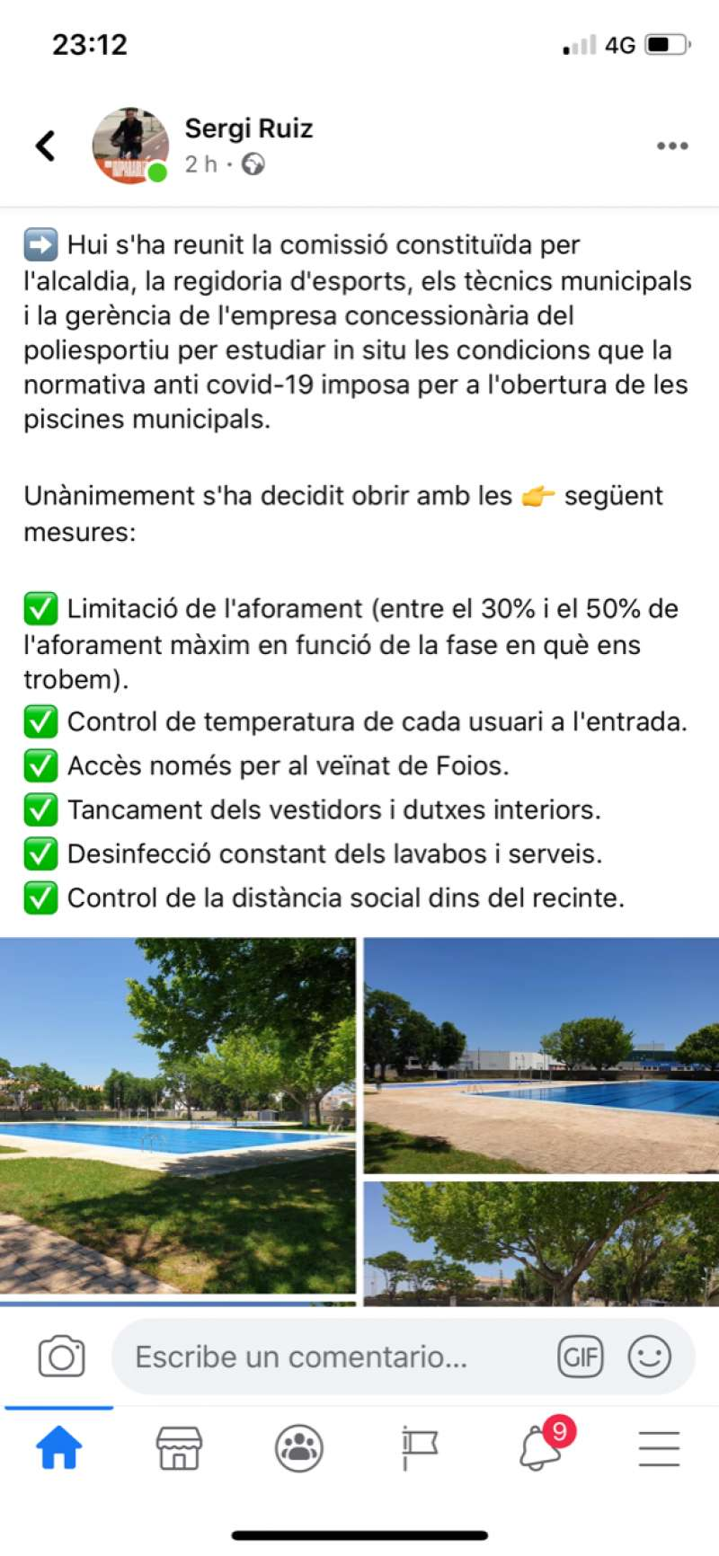 Explicación del alcalde de Foios en su perfil de Facebook.