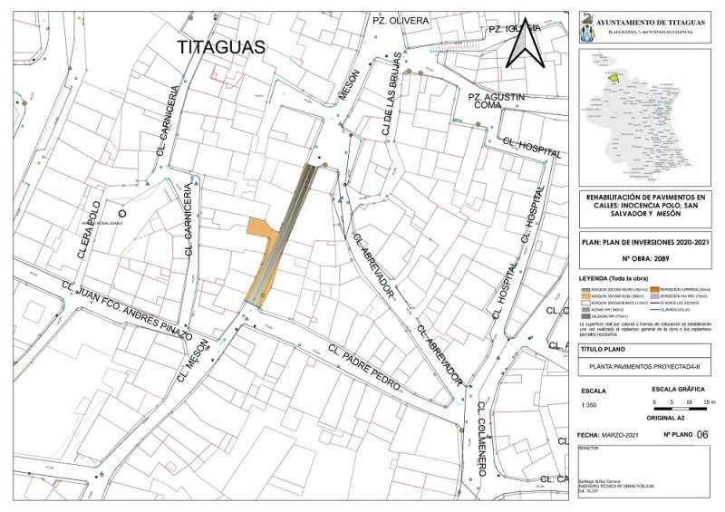 Mapa de la renovación de calzada de Titaguas. EPDA.