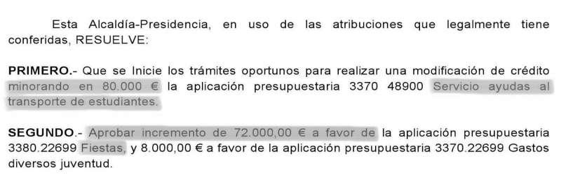 Extracto de la resolución de Alcaldía de Moncada. EPDA