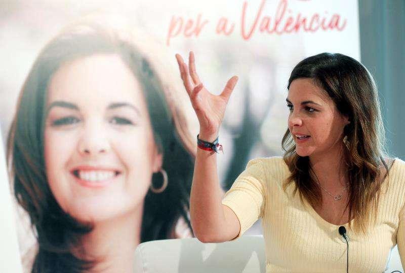 La entonces candidata socialista a la alcaldía de València, Sandra Gómez, en un acto de campaña electoral. EFE/Archivo
