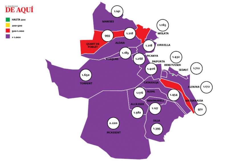 Mapa del coronavirus en Horta Sud. EPDA