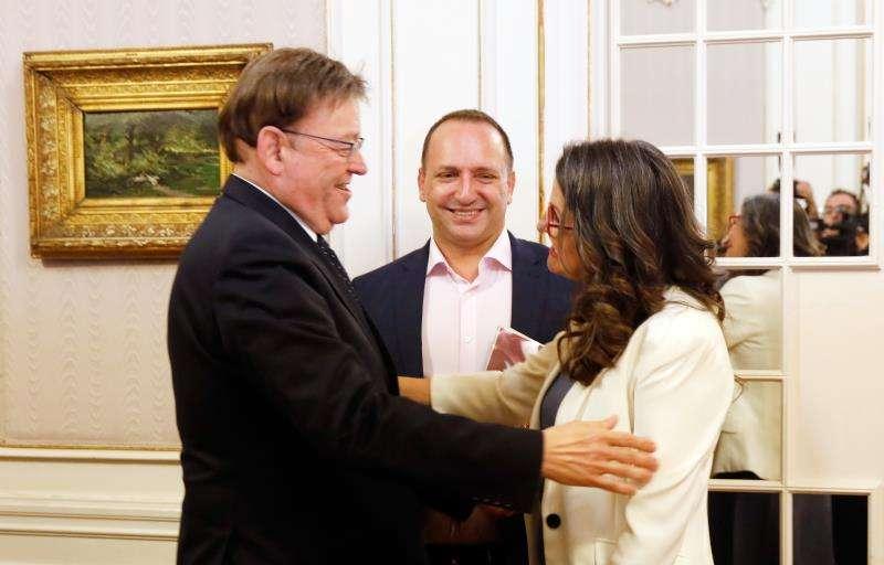 Ximo Puig, Mónica Oltra y Rubén Martínez Dalmau.EFE ARCHIVO
