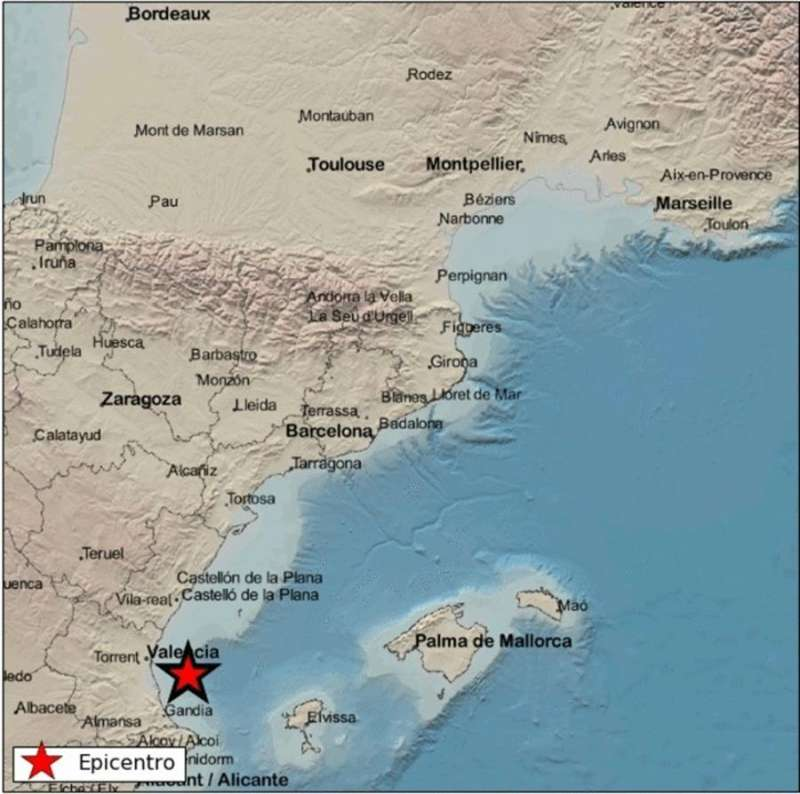 Imagen del Instituto Geográfico Nacional con la localización del terremoto.