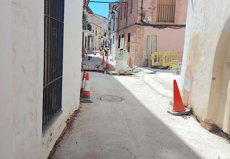 Obras en la calle Sánchez Coello.