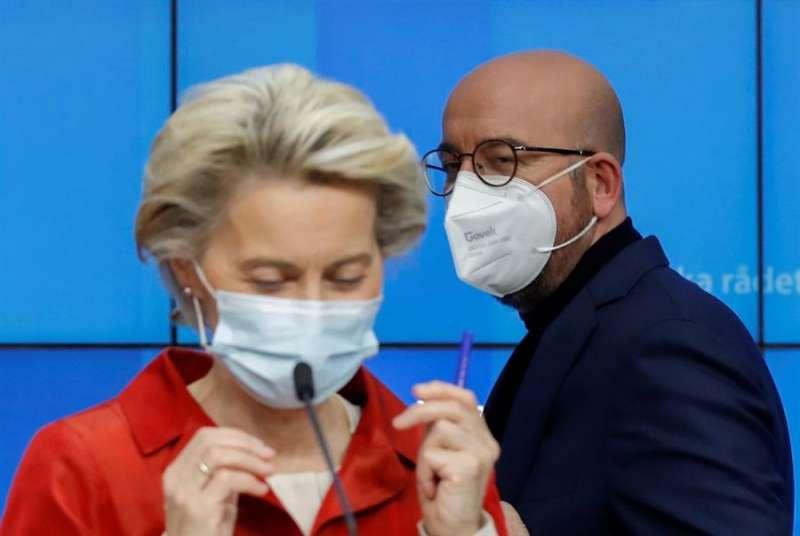 Los líderes de la Unión Europea (UE) fijaron este jueves las bases para responder de forma más armonizada a la segunda ola de coronavirus en el continente EFE/EPA/OLIVIER HOSLET / POOL