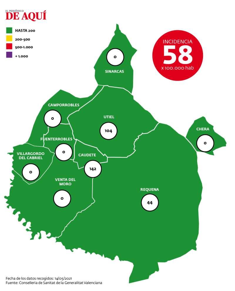 Mapa de incidencia comarcal por coronavirus