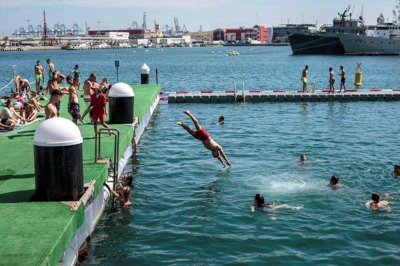 Varias personas disfrutan de las buenas temperaturas de este sábado en la primera piscina natural y urbana de Valencia. EFE