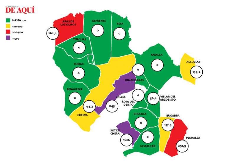 Incidencia acumulada por cada 100.000 habitantes distribuida por municipios. / EPDA