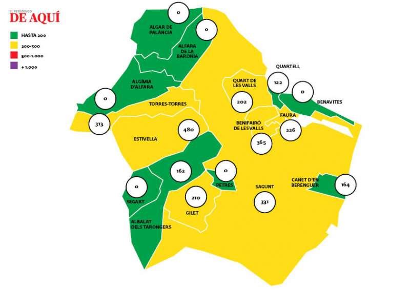 Mapa de incidencia en el Camp de Morvedre con datos de 17 de febrero.