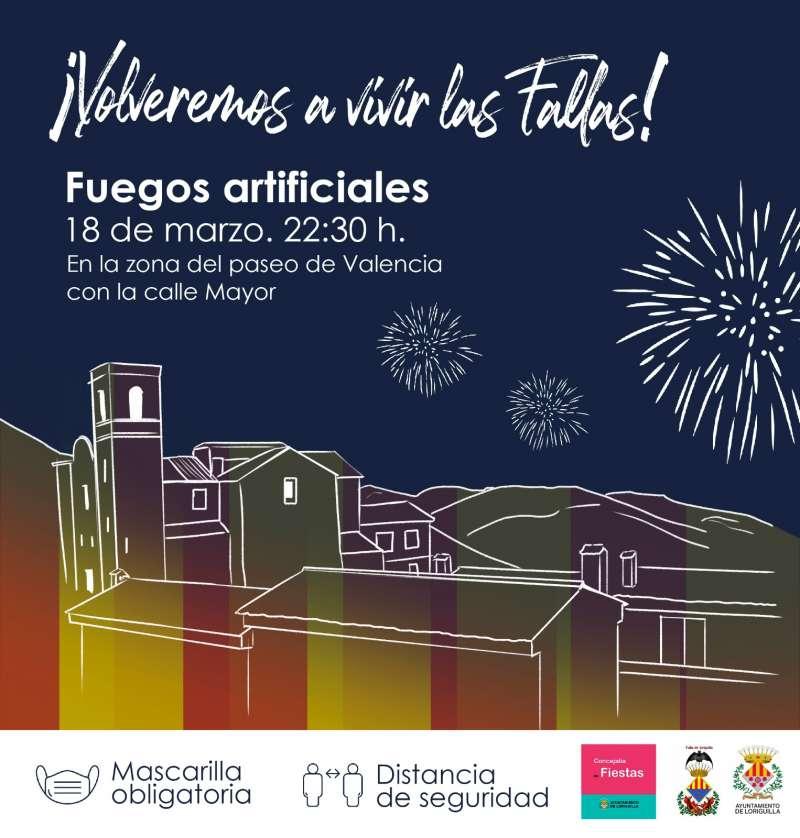 Cartel anunciador de los fuegos artificiales previstos para el día 18 de marzo.