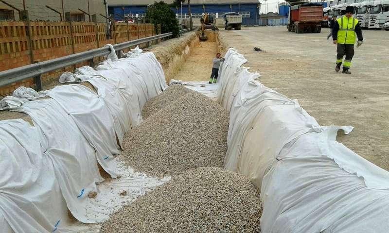 Obras para la instalación de los Sistemas de Drenaje Urbano Sostenible (SuDS) en la Mercedes-Benz de Quart de Poblet. EPDA