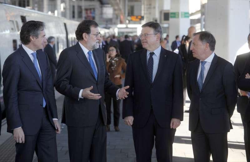 Íñigo de la Serna, Mariano Rajoy, Ximo Puig y Juan Carlos Moragues.