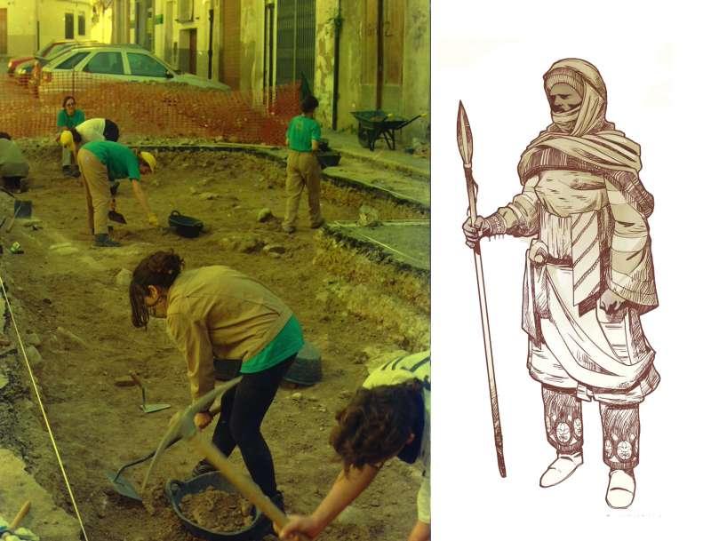 Excavación de la necrópolis islámica del Almudín en 1999 / Recreación del