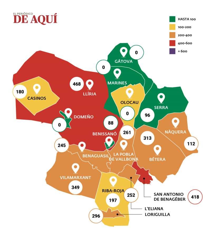 Mapa de coronavirus en Camp de Túria. / EPDA