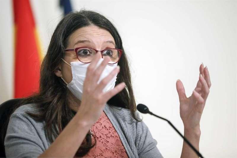 Mónica Oltra durante una rueda de prensa. EFE.
