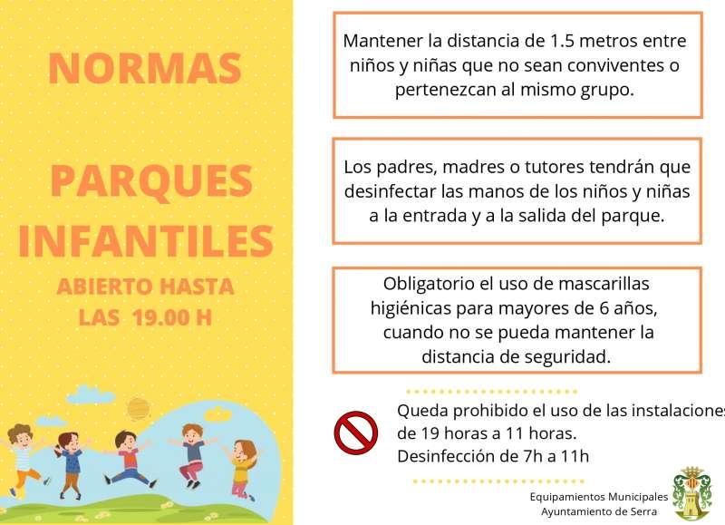 Cartel sobre las normas de los parques infantiles. / EPDA